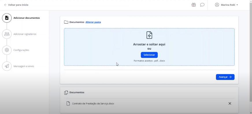 Captura de tela mostrando a página em que é feita o envio de um documento para o processo de assinatura digital com a Clicksign